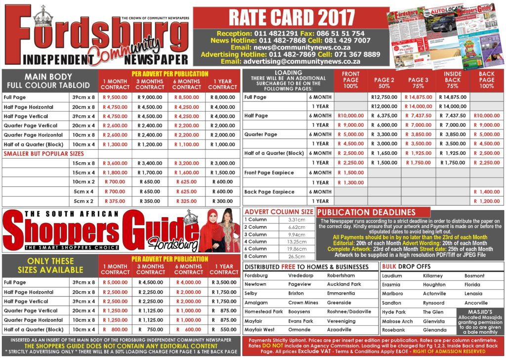 2017 RATE CARD - FORDSBURG COMMUNITY NEWSPAPER PG 1